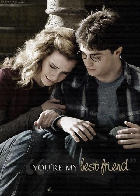 Hermione Granger & Harry Potter, this is a beautiful scene because show how they care about each others even in the little thing.