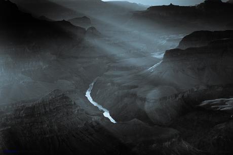 Mohave Point en blanco y negro. Gran Cañón del Colorado.