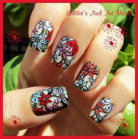 Manicura de flores holográficas para mi Santo (con anillo a juego)