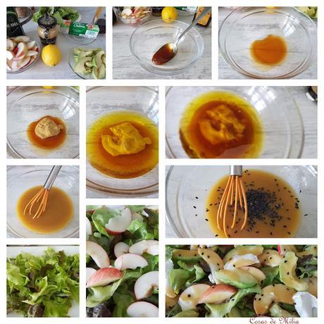 Ensalada de  aguacate y manzanas  con  vinagreta de mostaza y miel