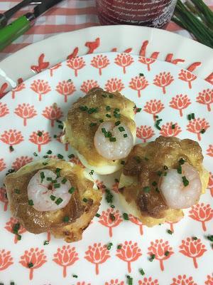 Huevos Rellenos De Atún Y Gambas Gratinados