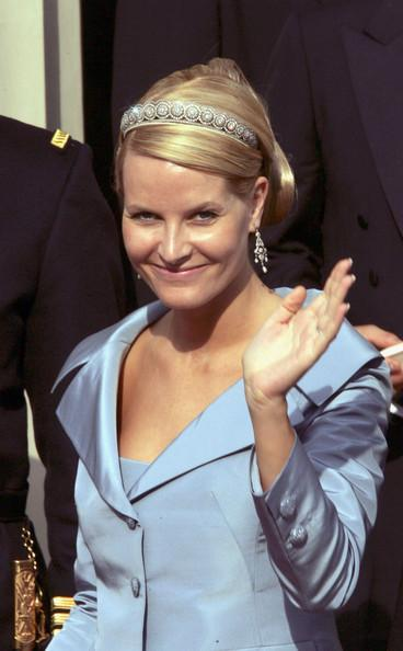 Crown Princess Mette-Marit of Norway leaves Copenhagen Cathedral after the wedding ceremony between Danish Crown Prince Frederik and Miss Mary Elizabeth Donaldson in Copenhagen Cathedral May 14, 2004 in Copenhagen, Denmark. The romance began in 2000 when Donaldson met the heir to one of Europe's oldest monarchies over drinks at the Sydney Olympics, where he was with the Danish sailing team.