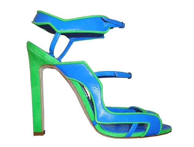 Manolo Blahnik 'Makar' blue and green shoe