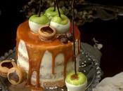 Tarta layer cake manzanas castañas salsa caramelo