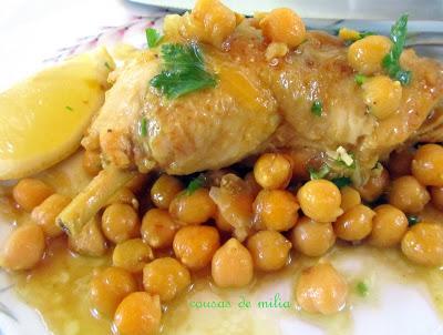 Pollo k´dra con garbanzos