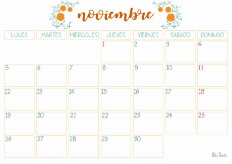 Imprimible: Calendario noviembre 2018