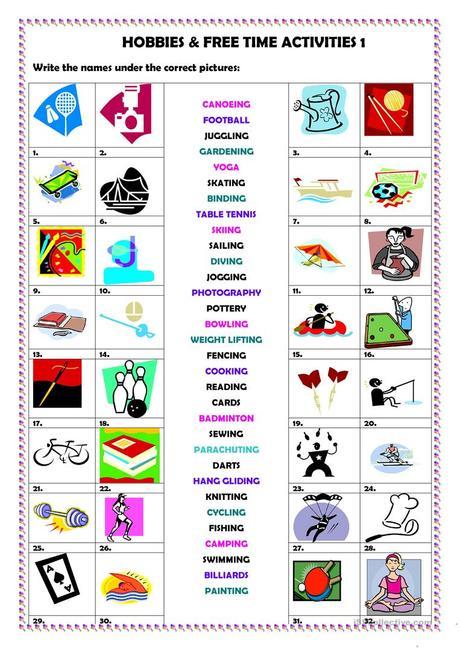 Hobbies Time Activities 1 Esl Worksheets