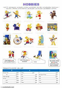 Interactive Worksheet Hobbies