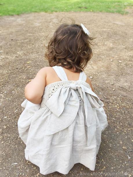 Vestido Granny Squares de Bebé combinado con Tela
