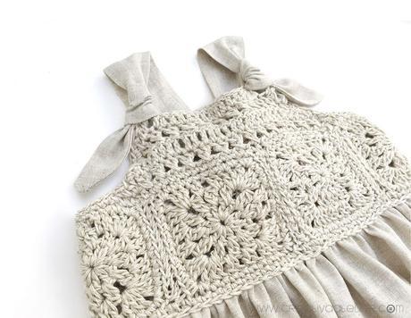 Cómo hacer un vestido de granny squeres de bebé combinado con tela DIY - Tutorial y Patrón
