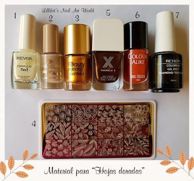 Hojas doradas con el esmalte especial para estampar 011 de Beauty BigBang