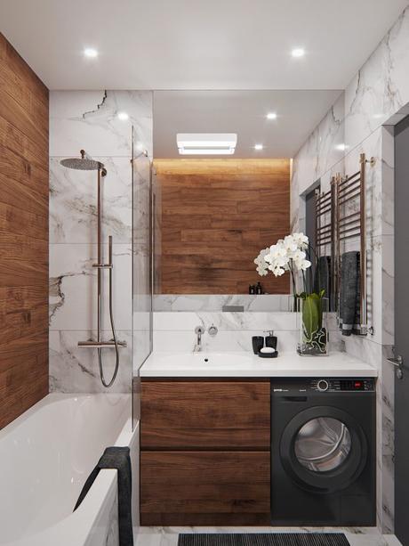 baño marmol y madera
