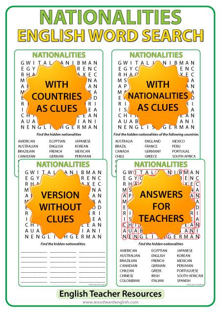 Nationalities In English Word Search Esl Teacher Resource