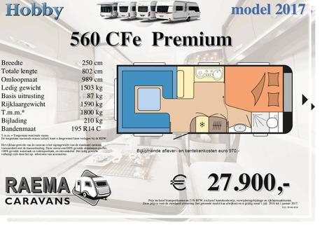 Hobby Premium 495 Ul 2017 Caravan 560 Cfe