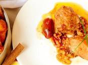 Pollo asado cazuela canela, dátiles nueces