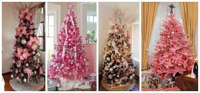 árboles-navideños-decorados-rosa-dorado
