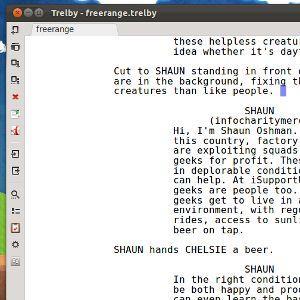 Trelby -Software de escritura de guiones