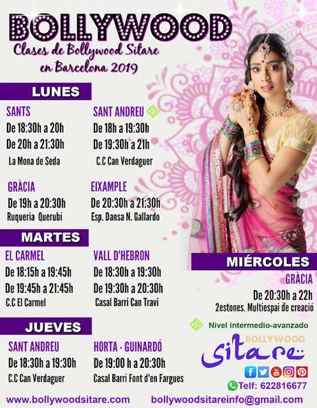 Clases de Bollywood en Barcelona. Enero- Marzo 2019