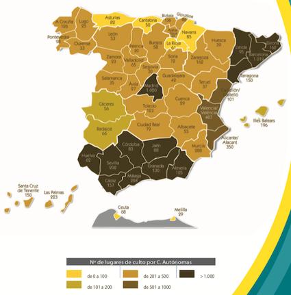 16 nuevos lugares de culto evangélicos en España cada mes
