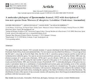 Gran trabajo sobre leiódidos con descripción de 2 nuevas especies