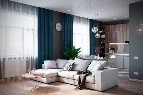 cortinas sencillas y caidas de color