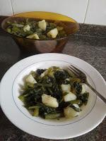 Pencas de borrajas con patatas al ajillo  //Borraja con patatas