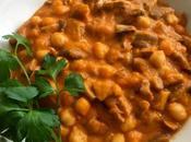 Callos veganos garbanzos Guiso setas variadas, sofrito legumbres