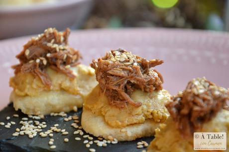 Galletas con Hummus y Pulled Pork