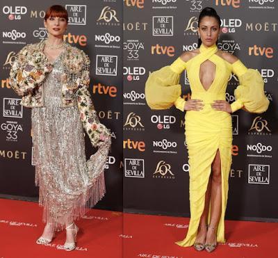 Najwa Nimri plateada y con torera e Hiba Abouk de amarillo pollo en los Goya
