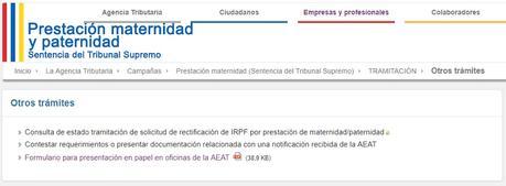 Comprobar el estado de la solicitud del IRPF por maternidad o paternidad