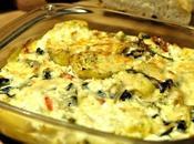 Gratinado alcachofas, espinacas queso feta