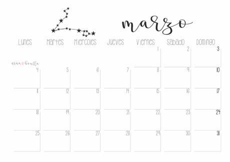 Imprimible: Calendario marzo 2019