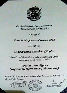 Felicitaciones a nuestra botánica Maria Elena Sanabria, orgullo de Venezuela!