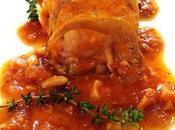 Redondo pollo salsa picada frutos secos