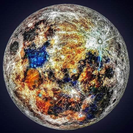Asombrosa foto compuesta por 150.000 imágenes permite apreciar los colores ocultos de la Luna