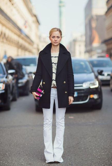 peacot navy pantalones blancos