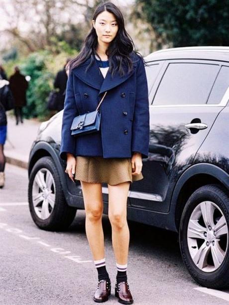peacot navey pleated miniskirt