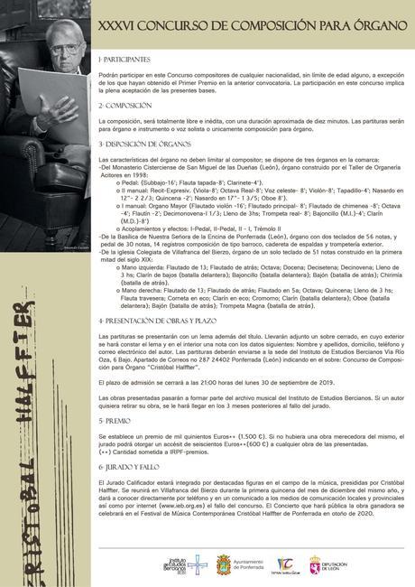 El IEB convoca el XXXVI Concurso de Composición para Órgano Cristóbal Halffter