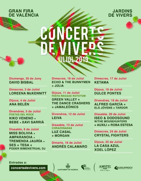 Concerts de Vivers 2019: Leiva, Calamaro, Luz, Morgan, La Casa Azul, Xoel López, Ketama, Kiko Veneno, Lorena McKennitt, Echo & The Bunnymen...