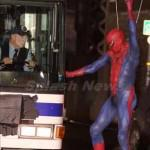 'The Amazing Spider-Man' in costume swinging in to action in NYC