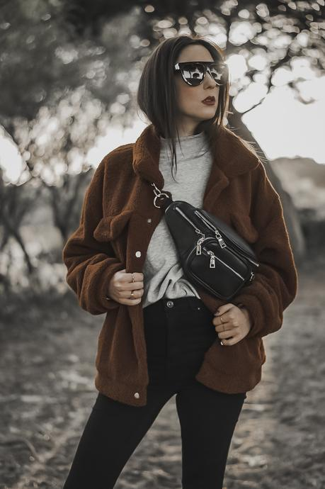 spring outfits - teddy jacket