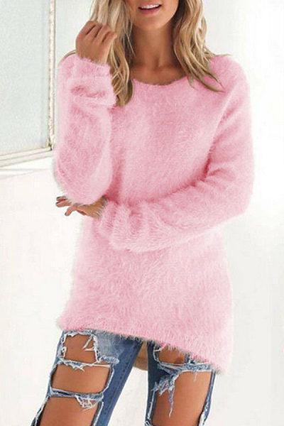 Round Neck  Asymmetric Hem  Plain Sweaters