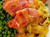 Lomo cerdo ahumado guarnición patatas guisantes