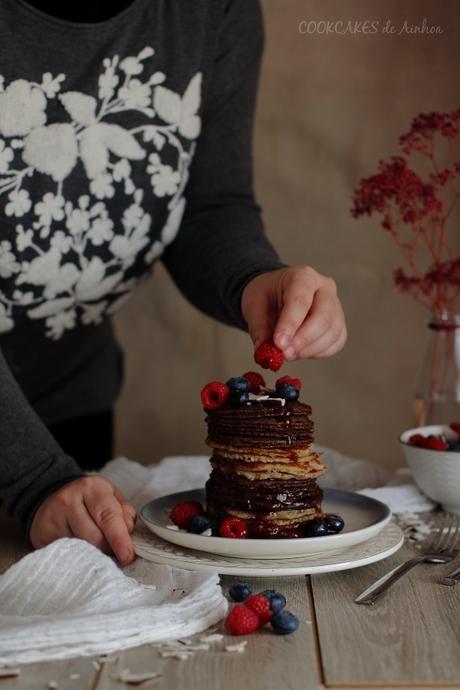 Tortitas de harina de coco y mermelada. Pancakes saludables. Cookcakes de Ainhoa.