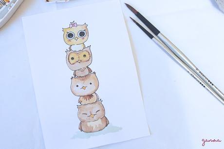 Pintando: tótem de búhos