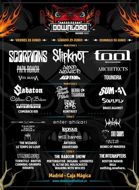 Download Festival Madrid 2019 completa cartel con Children of Bodon, Rival Sons, Enter Shikari, Watain, Red Fang, Chevelle, Comeback Kid...