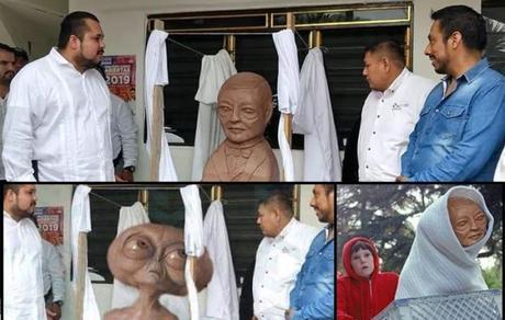 Escultura chusca de Benito Juárez en SLP se vuelve viral