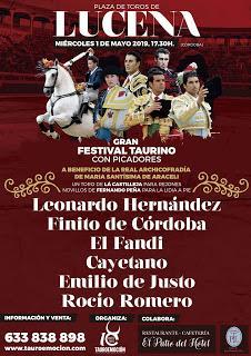 PRESENTADO EL FESTIVAL TAURINO BENÉFICO DE LUCENA, PREVISTO PARA EL PRÓXIMO 1 DE MAYO