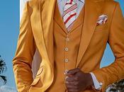 Traje italiano medida amarillo raso algodón
