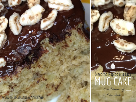 Mug cake Bizcocho rápido a la taza al micro con plátano y chocolate healthy sano saludable cocina con niños peques Idea de merienda y desayuno